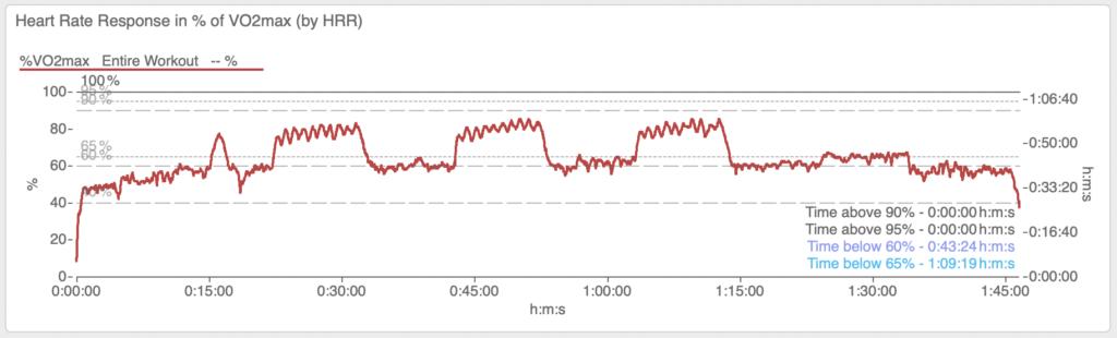 Dies ist das Short Intervals Training von oben. Dieses Mal aus der Perspektive der HRR bzw. der daraus abgeleiteten prozentualen Ausschöpfung der VO2max. Auch hier zeigt sich das Bild: die 90%-Grenze wurde nicht erreicht.